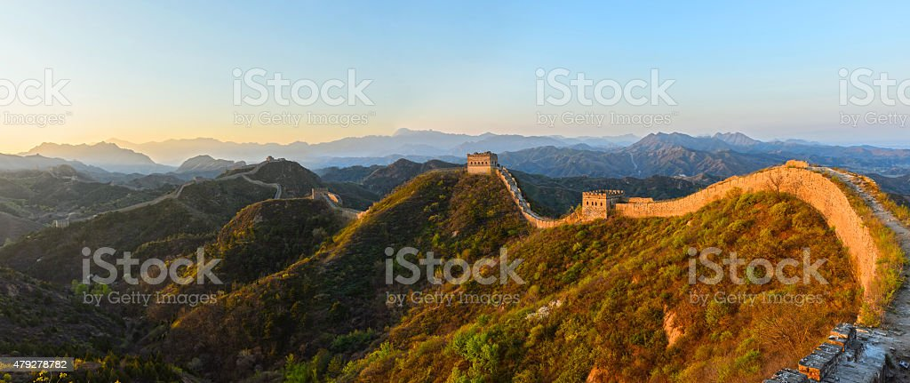 The great wall in the sunrise stock photo