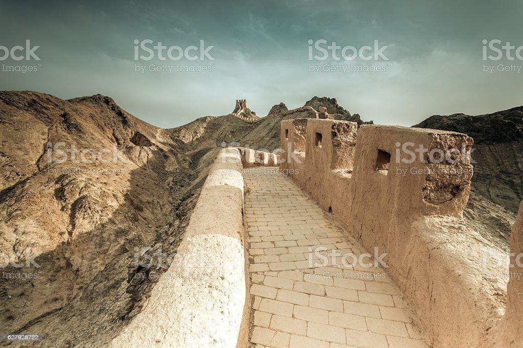 The Great Wall near Jiayuguang, Gansu China stock photo