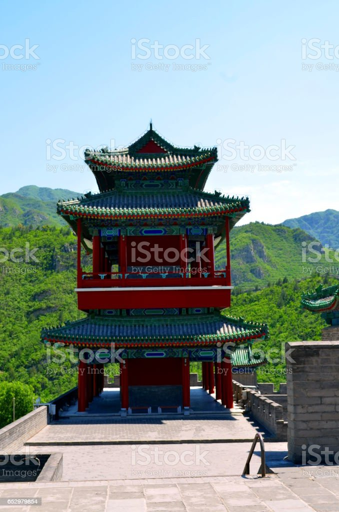 The Great Wall of China and mountains stock photo