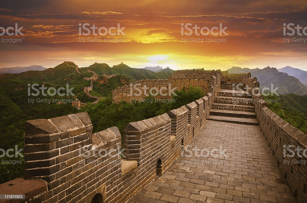 The great wall of China at sunset stock photo