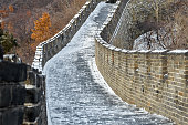 The Great Wall of China covered in light snow