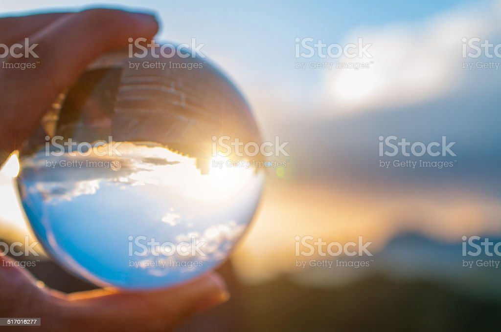 the great wall of china focused in a glass ball stock photo