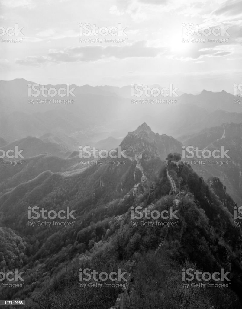 The Great wall of China in black and white. Jiankou. stock photo