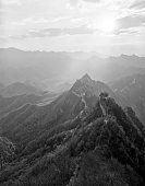 The Great wall of China in black and white. Jiankou.