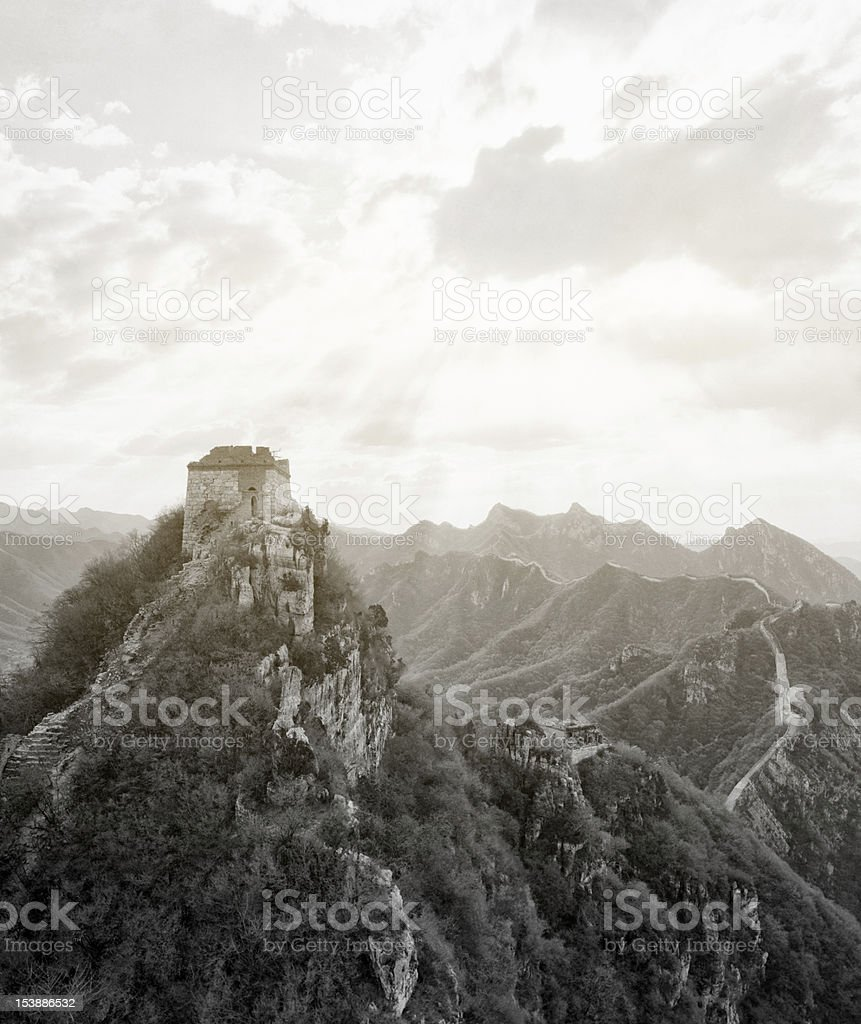 The Great wall of China in black and white. Jiankou. royalty-free stock photo