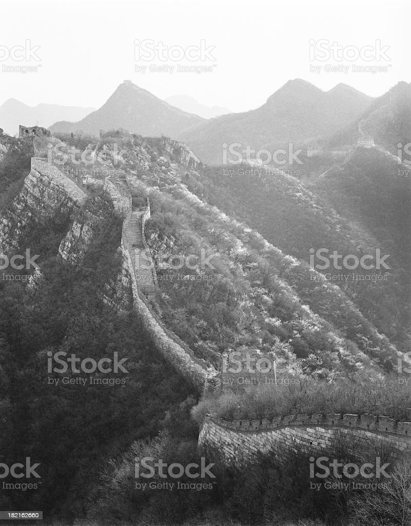 The Great wall of China in black and white stock photo