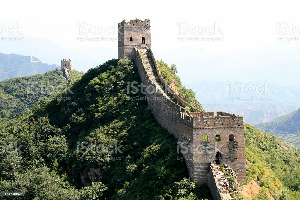 The Great Wall of China under blue sky stock photo