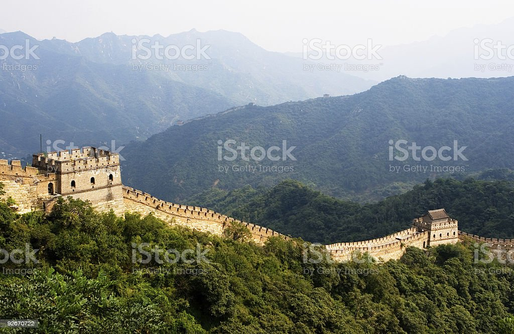 The Great Wall surrounded by trees stock photo