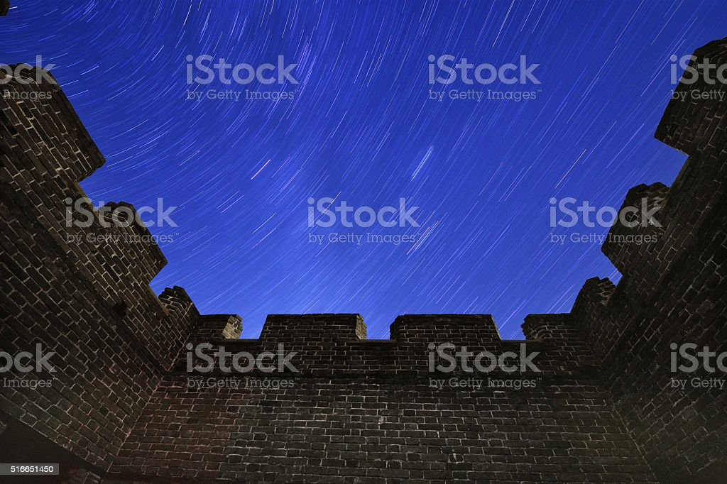 The Great Wall Under Starry Sky, China stock photo
