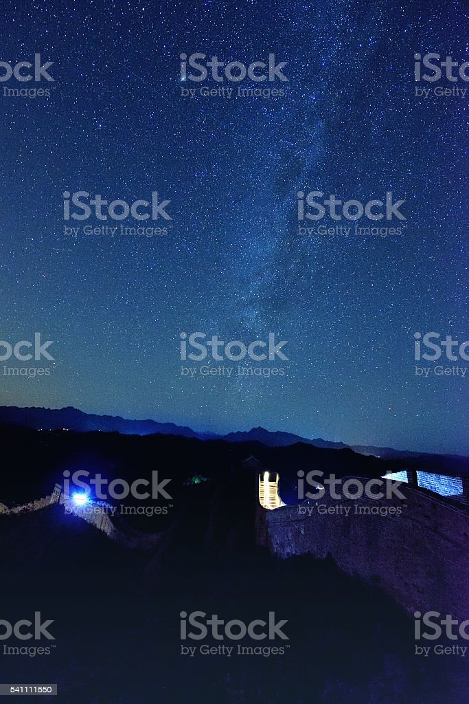 The Great Wall Under Starry Sky stock photo