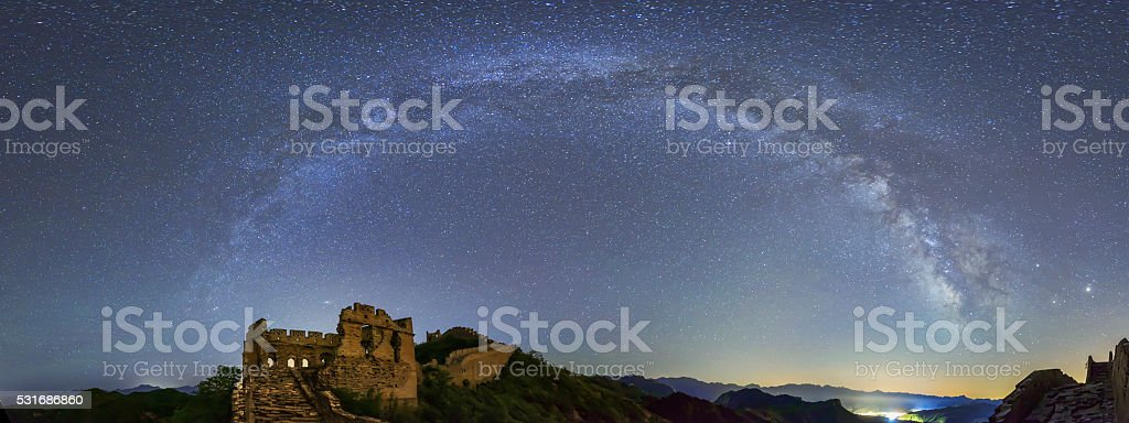 The Great wall under the milky way arch stock photo