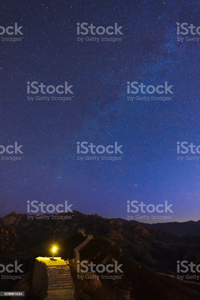 The Great wall under the milky way stock photo