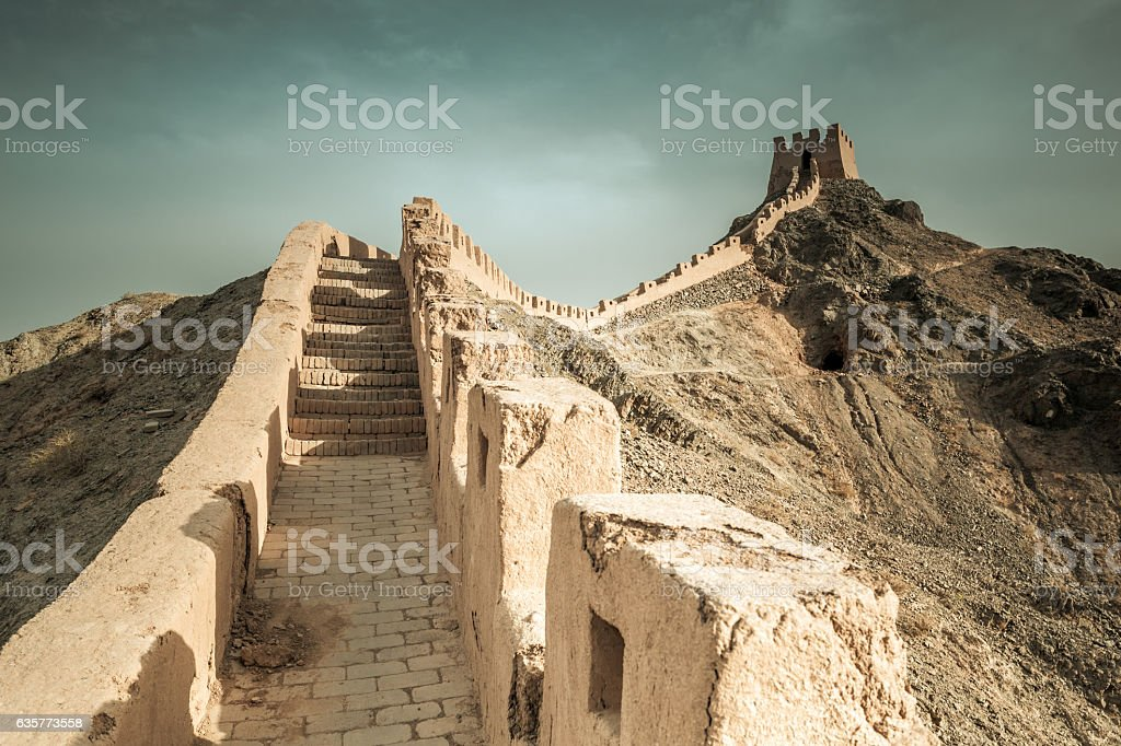 The Great Wall under the Ming Dynasty in Jiayuguan,  China. stock photo