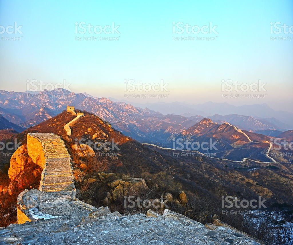 The Great Wall with floor.great wall the landmark of china and beijing stock photo