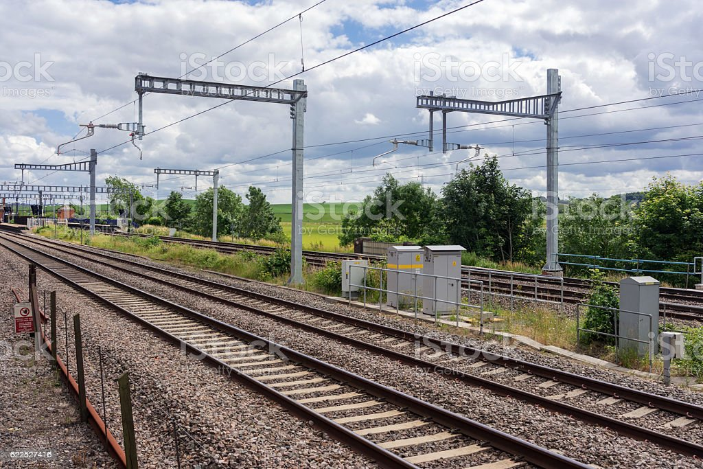 The great western mainline at Cholsey in south Oxfordshire stock photo