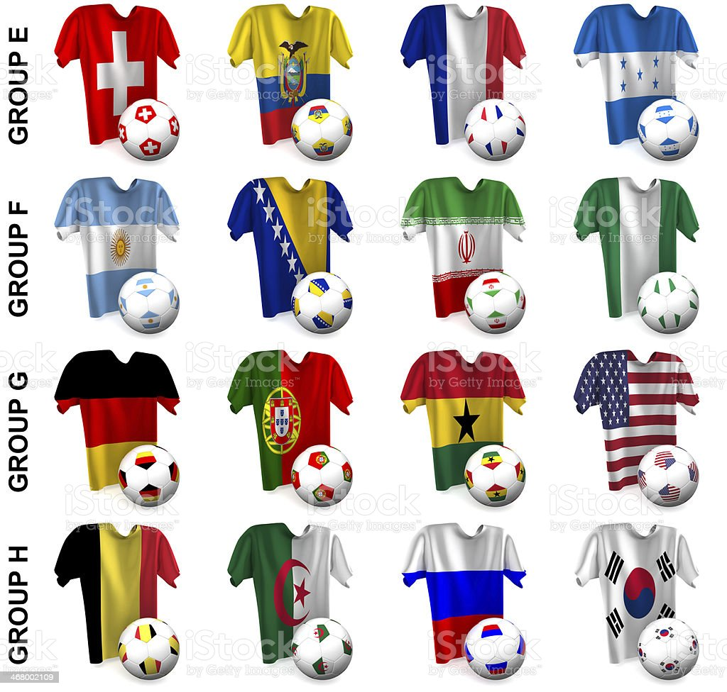 The greatest soccer tournament. Groups E to H stock photo