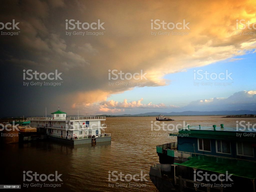 The greatness of the universe before a thunderstorm stock photo