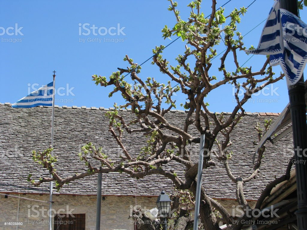 The greek roof in Omodos stock photo