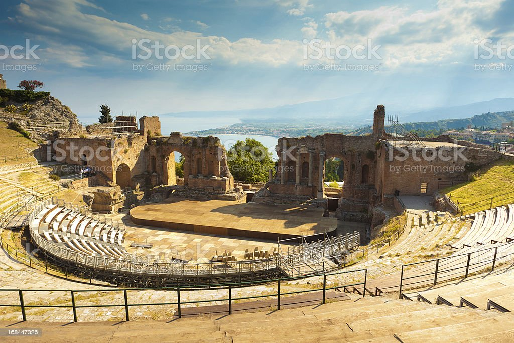 The Greek Theater & Mount Etna, Sicily, Italy stock photo