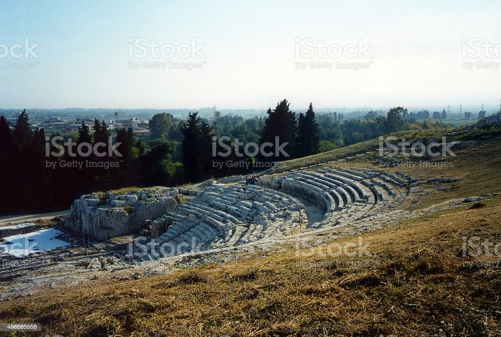 The Greek theatre of Syracuse stock photo