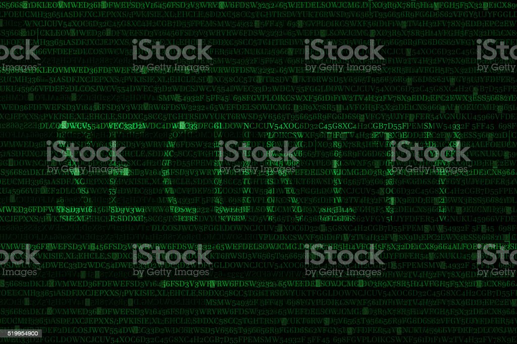The green alphanumeric code background. stock photo