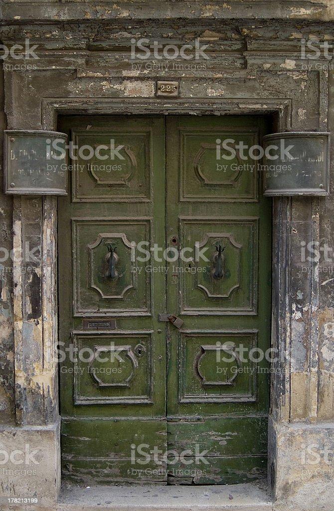 The Green Door - Valletta royalty-free stock photo