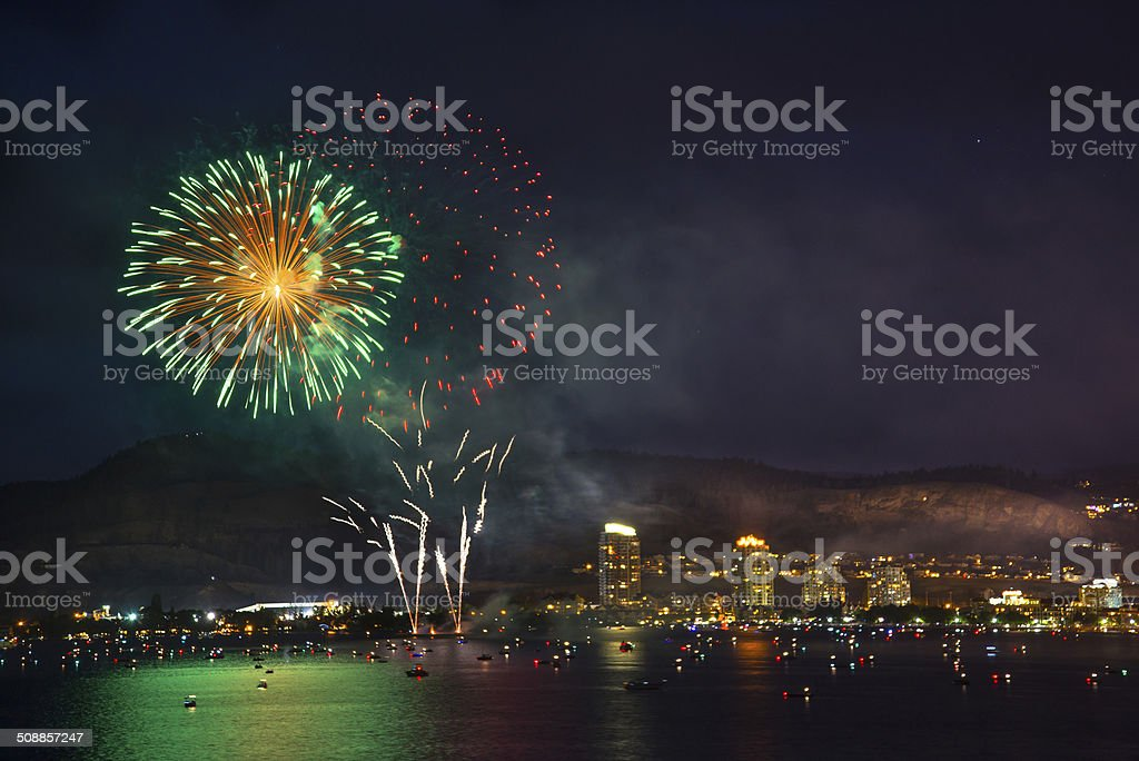 The Green Fire over The Lake stock photo