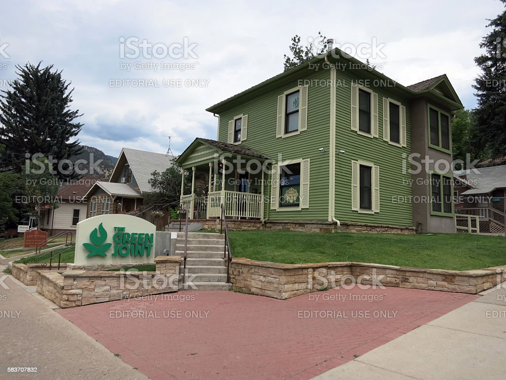 The Green Joint Marijuana Shop and sign in Greenwood Springs stock photo