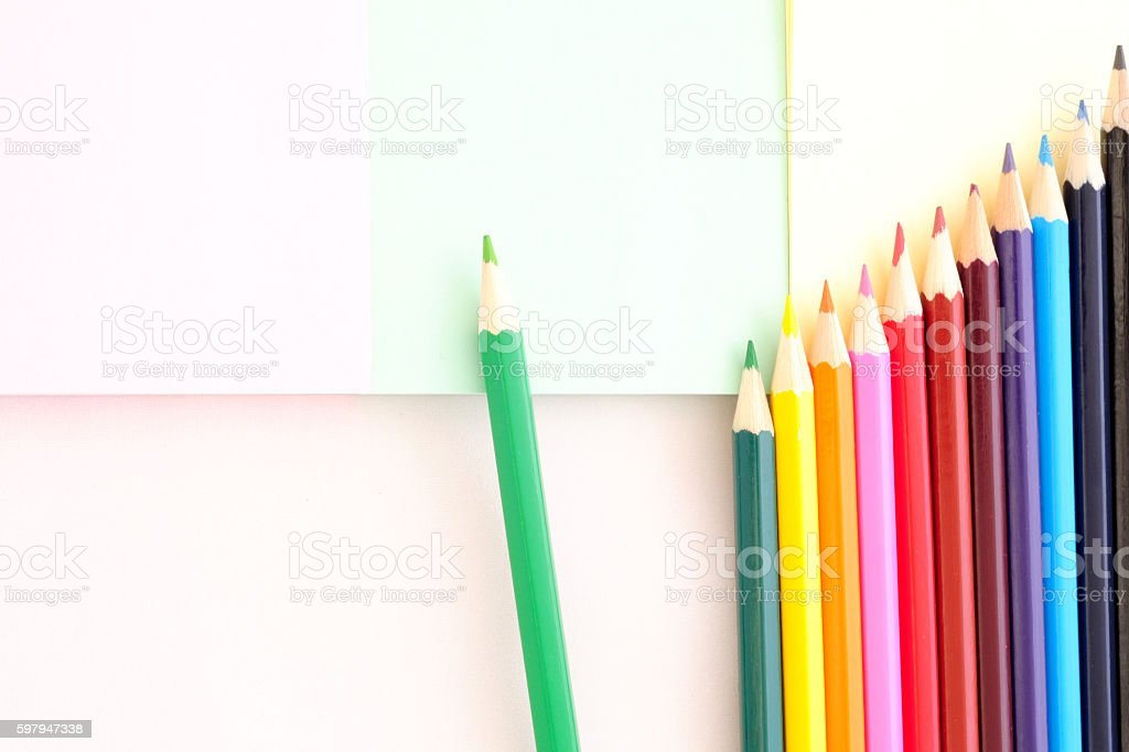 The green pencil teaches how to grow together stock photo