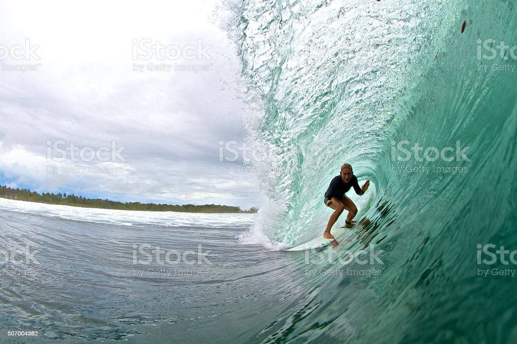 The green room surfer girl stock photo