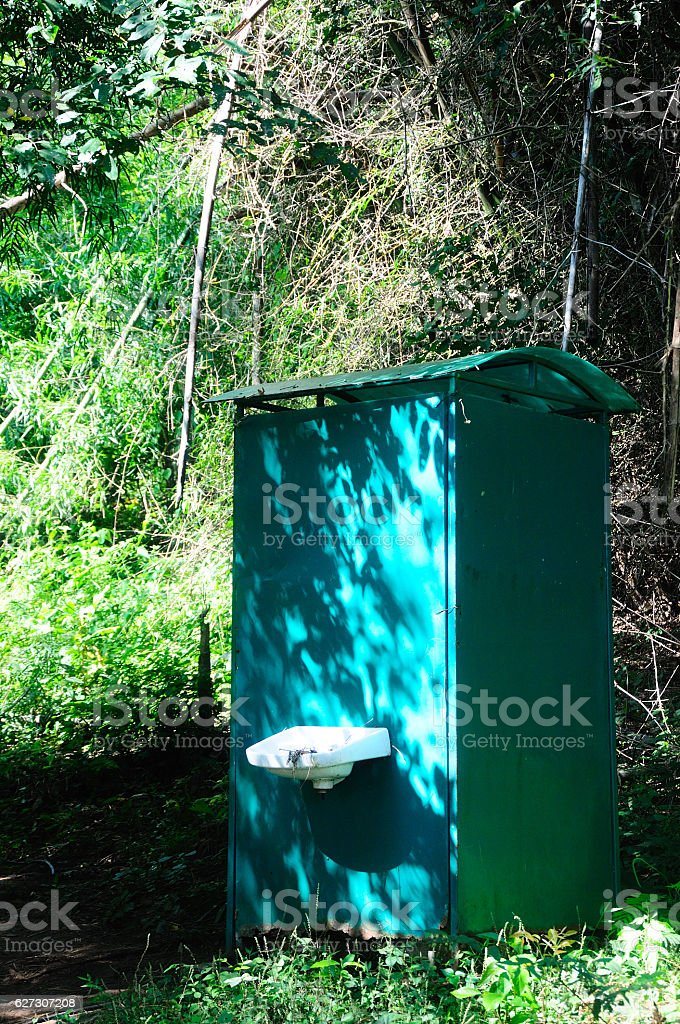 The green rustic toilet in the forest stock photo