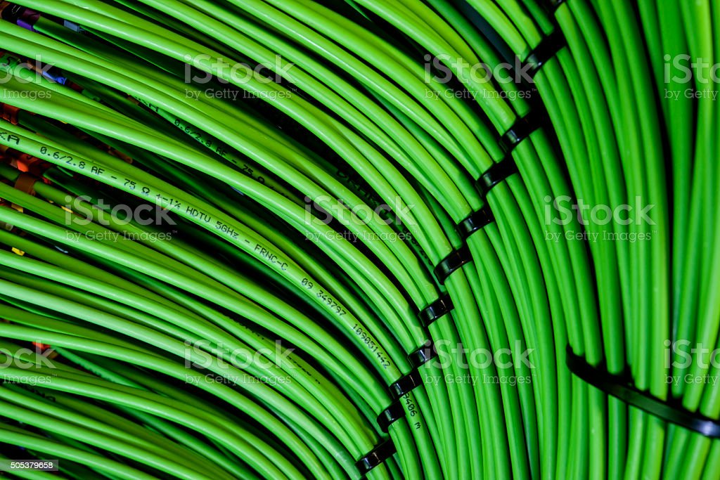 The green wire in the network server stock photo