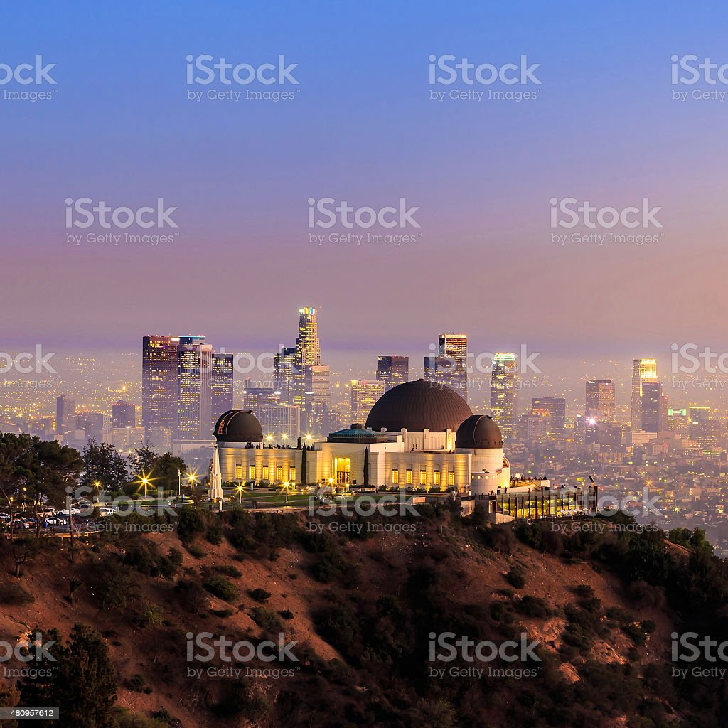 The Griffith Observatory and Los Angeles city skyline stock photo