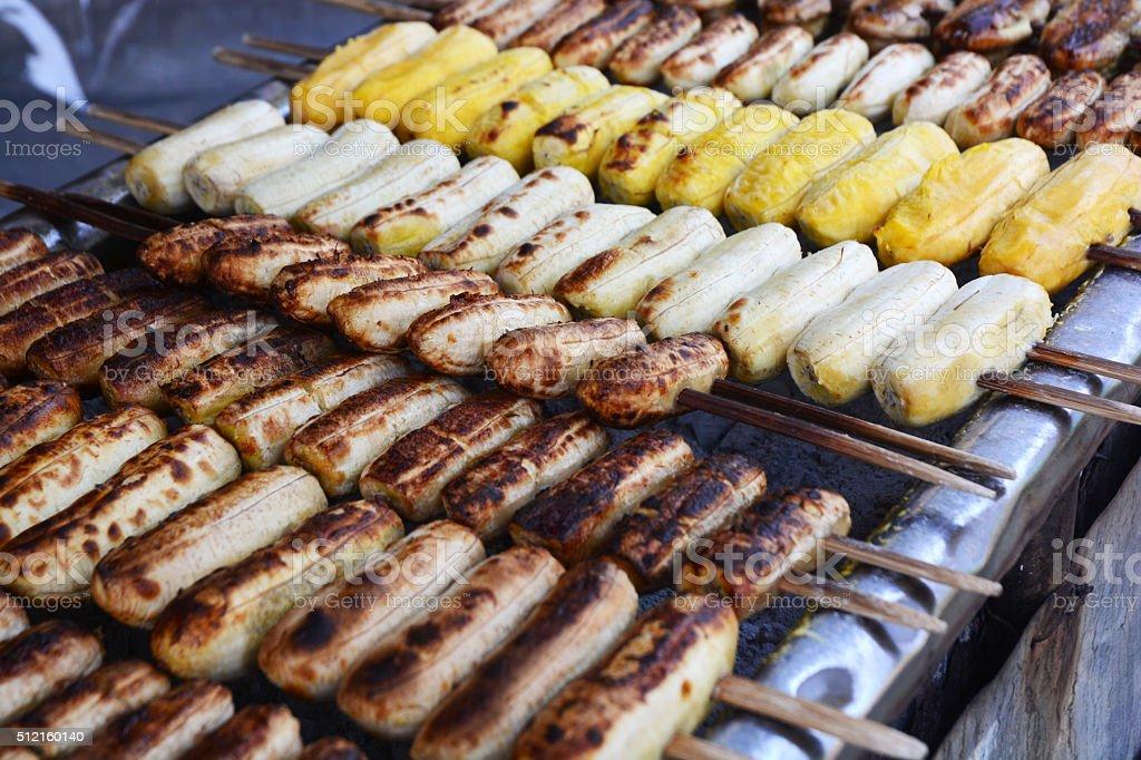 The grill bananas stock photo