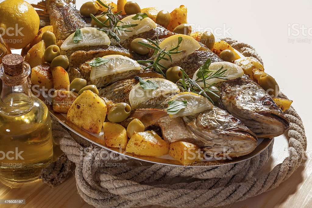 The grilled fish royalty-free stock photo