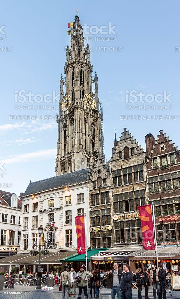 The Grote Mark and the Cathedral of Antwerp stock photo