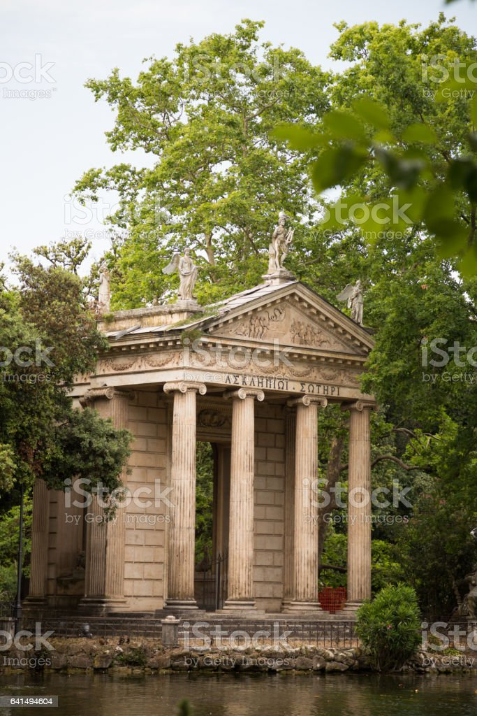The grounds of the Borghese Gardens in Rome, Italy stock photo