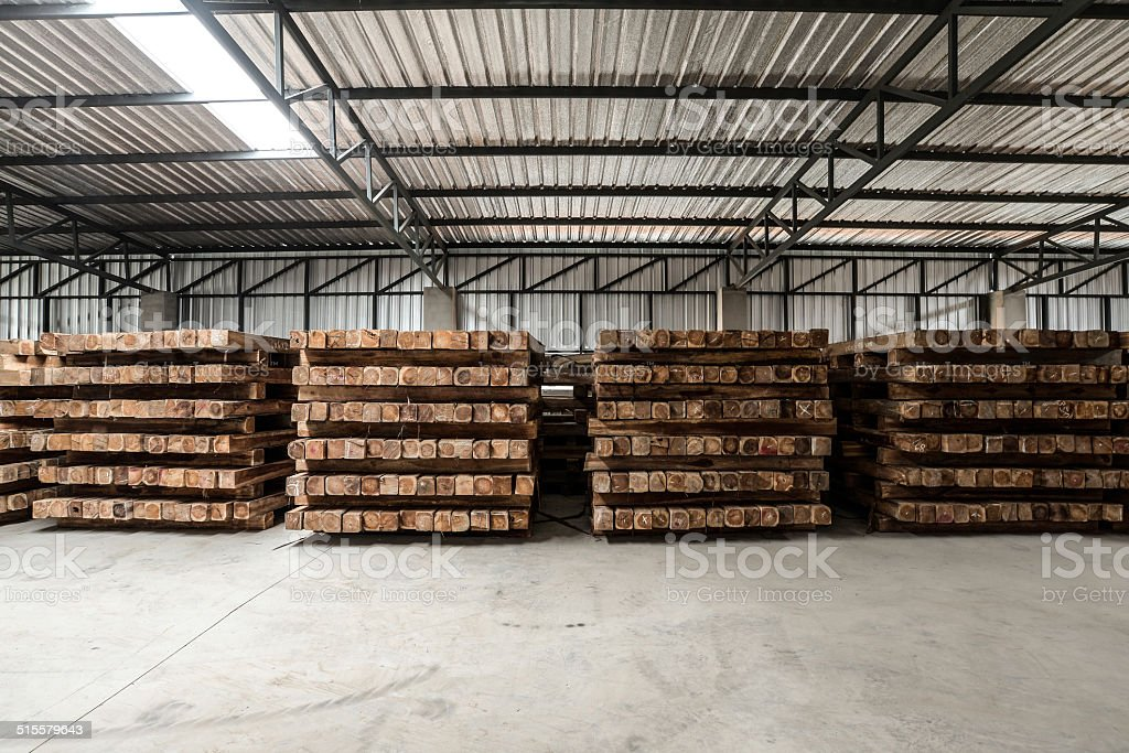 The wooden material in the factory stock photo