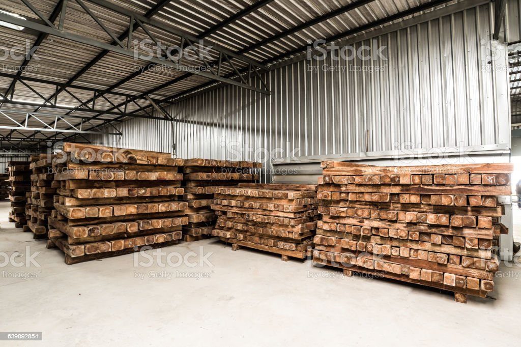 The group of wooden pallet in the factory. stock photo