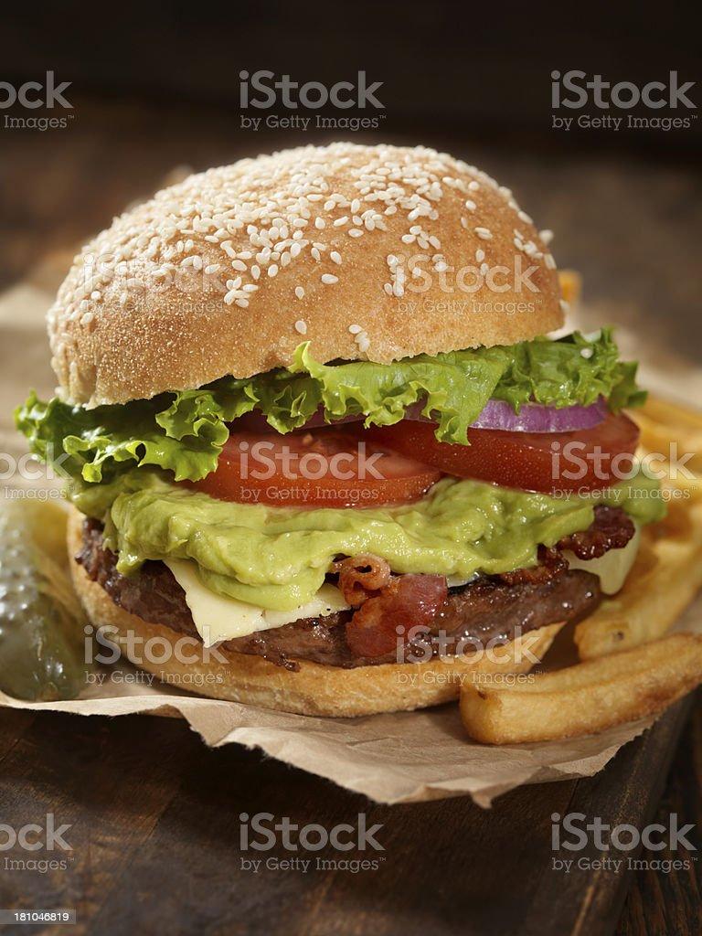 The Guacamole Bacon Burger royalty-free stock photo