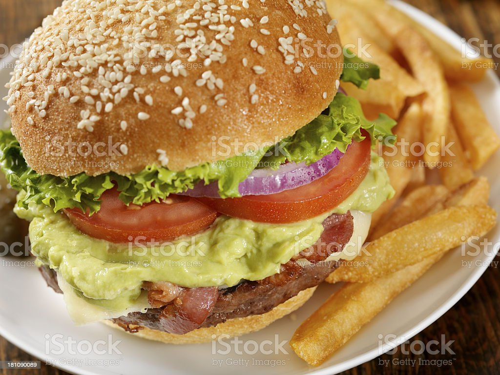 The Guacamole Bacon Burger stock photo