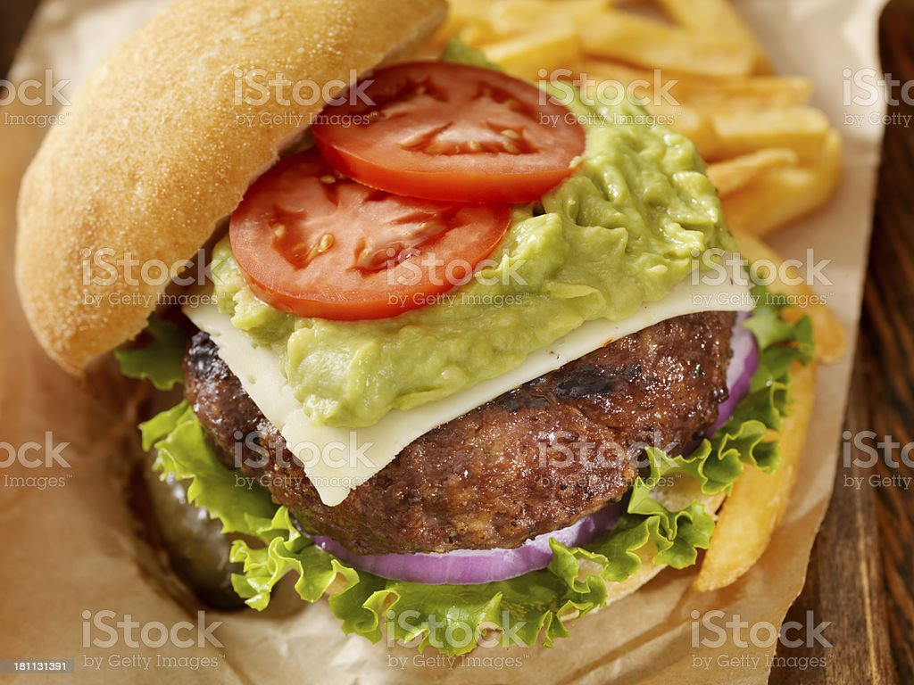 The Guacamole Bacon Burger royalty-free stock photo