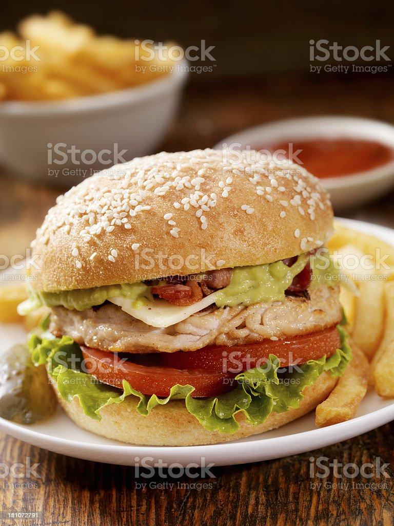 The Guacamole Bacon Turkey Burger stock photo