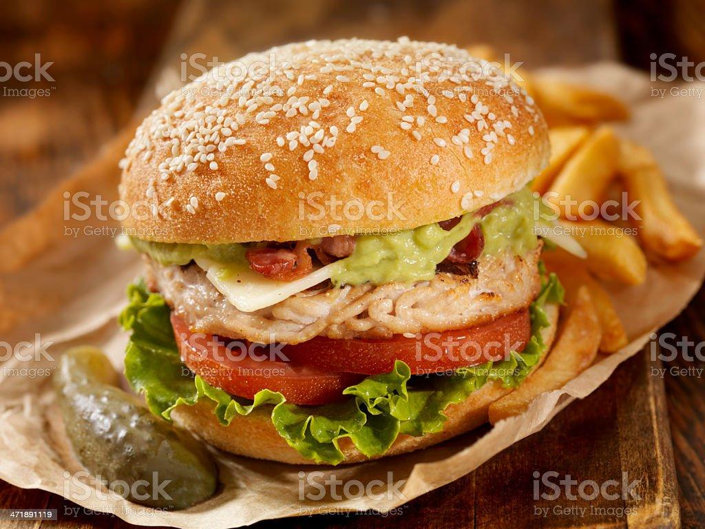 The Guacamole Bacon Turkey Burger royalty-free stock photo