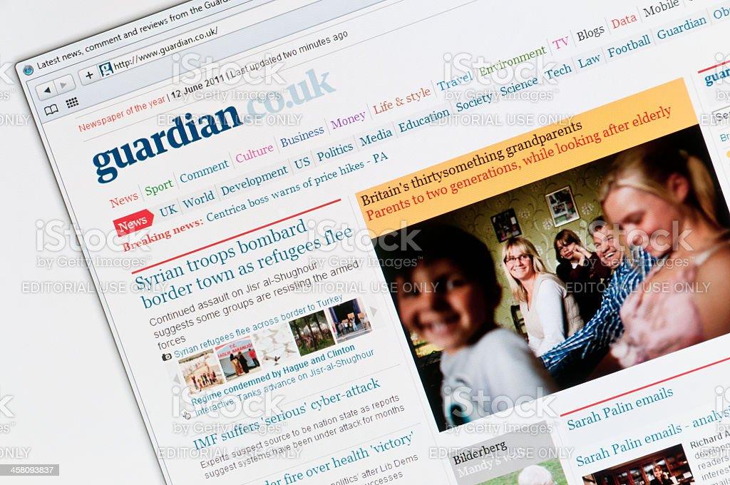The Guardian newspaper website stock photo