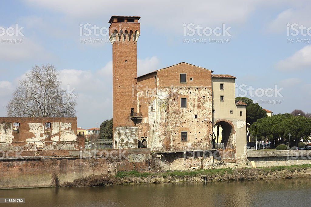 The Guelph Tower and Medici Citadel in Pisa stock photo