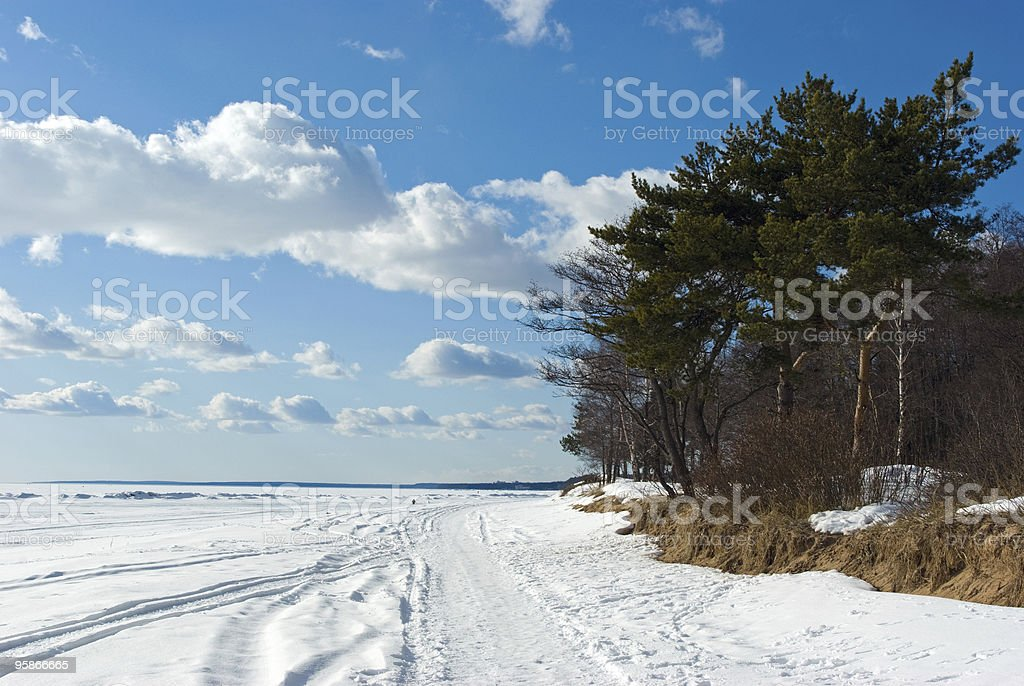 The Gulf of Finland coast in early spring royalty-free stock photo