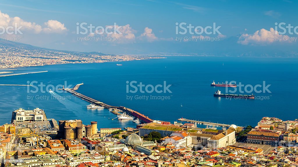 The Gulf of Naples seen from Castel Sant'Elmo stock photo