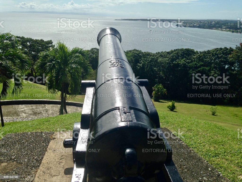 The Guns of Fort King George at Tobago stock photo
