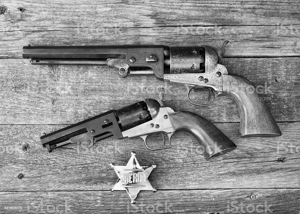 The guns that won the west. stock photo
